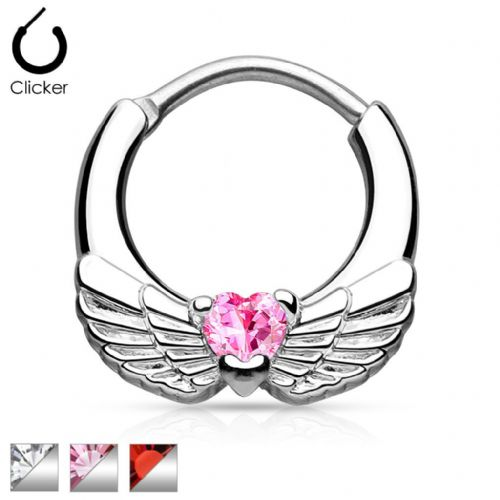 Angel Wings Septum Clicker with CZ Gem Heart Centre Surgical Steel